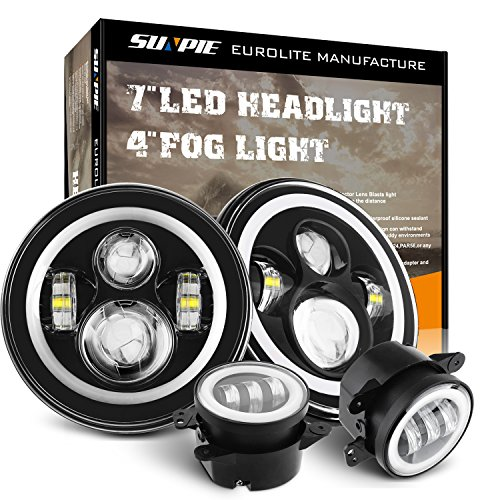 "7 Inch LED Halo Headlights with Turn Signal Amber DRL White+ 4 "" Halo Fog Lights for Jeep Wrangler 1997-2017 JK JKU TJ LJ Rubicon Sahara Unlimited White DRL/Amber"