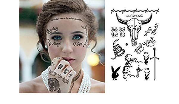 Post Malone Inspired Face Temporary Tattoos Sheet for Masque ...