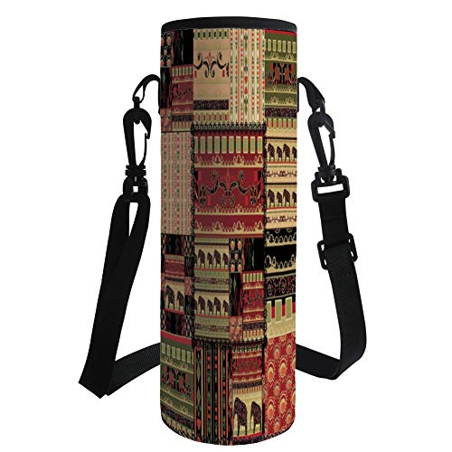 iPrint Water Bottle Sleeve Neoprene Bottle Cover,African,Patchwork Style Asian Pattern with Elephants and Cultural Ancient Motifs Print Decorative,Red Green Black,Fit for Most of Water Bottles
