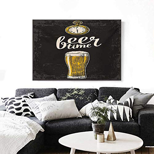 Modern Wall Paintings Beer Time Typography with Glass and Old Antique Lifestyle Illustration Print On Canvas for Wall Decor 36