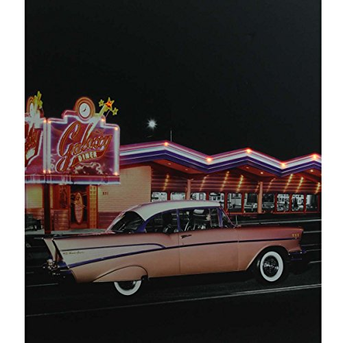 "Northlight LED Lighted Coral Pink 1957 Chevy Bel Air in Front of a Diner Canvas Wall Art 23.5"" x 19.75"""