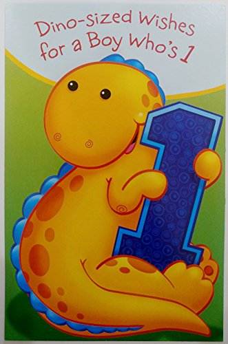 Dino-sized Wishes for a BOY who's 1 - Happy 1st First Birthday Greeting Card - Dinosaur Party - Turning One ()