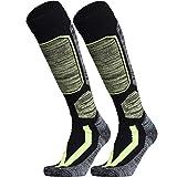 WEIERYA Ski Socks, Warm Knee High Performance Skiing Socks, Snowboard Socks (Black 2 Pairs, Large)