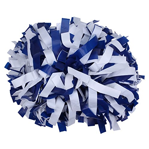 ICObuty Plastic Cheerleading Pom pom 6 inch 1 Pair(Royal Blue-White) -
