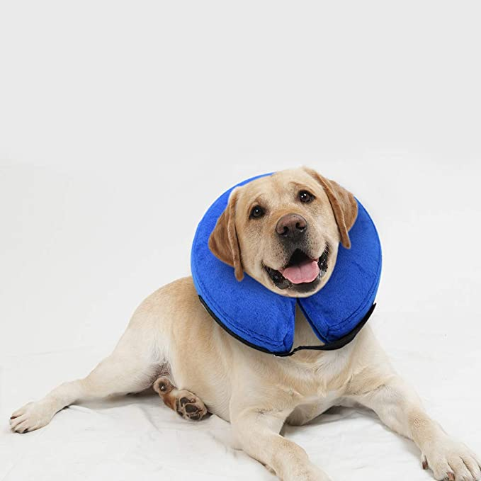 E-KOMG Dog Cone After Surgery, Protective Inflatable Collar, Blow Up Dog Collar, Pet Recovery Collar for Dogs and Cats Soft (L) best inflatable pet collar