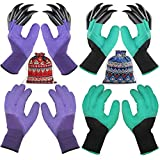 4 Pairs Garden Gloves with Fingertips Claws,Best Gift for Gardener,2 Pairs Working Genie Gloves with Double Claws,2 Pairs Without Claws,for Digging and Planting,Breathable. (4 Pairs Purple and Green): more info