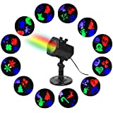 Projector Lights ,AmyHomie Outdoor Projection Lights 12 Pattern Waterproof Landscape Lights for Christmas Halloween Holiday Party Home Decoration Wall Motion Decoration (muti color)