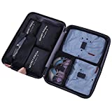 Woworld Travel Packing Cubes Black 7 Set Lightweight and Waterproof Compression Pouches With Shoe Bags Pack Clothes Organizer For Luggage Suitcase(Black 7)