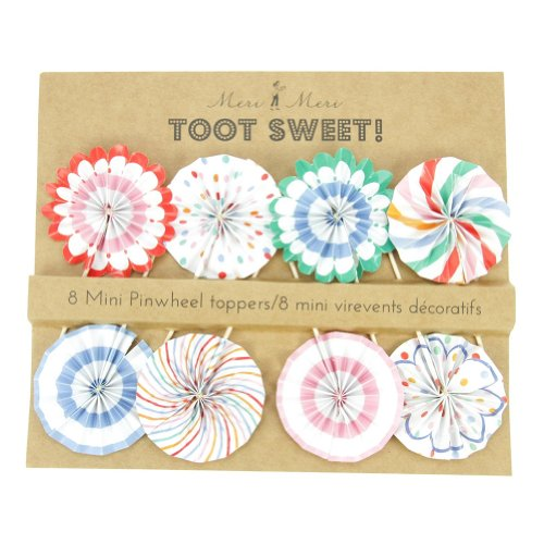 Meri Meri Toot Sweet Pinwheel Cupcake Picks 45-0875 , Set of