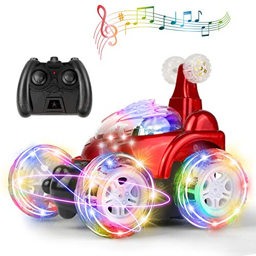 UTTORA Remote Control Car for Kids, RC Stunt Car with 360 ° Rolling Dancing Performance Colorful Lights and Dynamic Music Rechargeable 2.4Ghz RC Car Toy for Boys and Girls (Red)