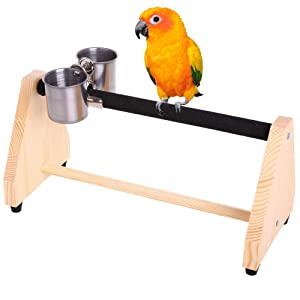 QBLEEV Parrot Play Wood Stand Bird Grinding Perch Table Platform Birdcage Feeder Stands with Feeder Dish Cup Portable Table Playstand for Small Cockatiels, Conures, Parakeets, Finch