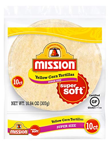 Mission Super Size Yellow Corn Tortillas | Gluten Free, Trans Fat Free | Large Soft Taco Size | 10 Count