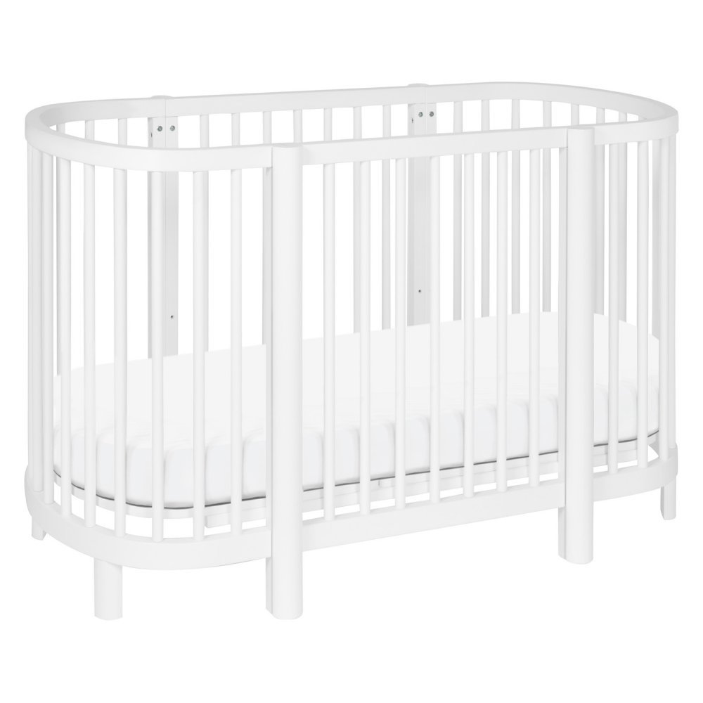 Babyletto Hula Convertible Oval Crib with Mini Pad In White Finish