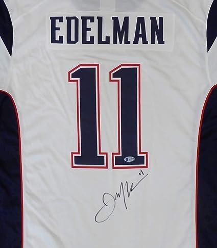 NE Patriots Julian Edelman Autographed White Authentic Jersey SB LIII Patch Size L Beckett BAS