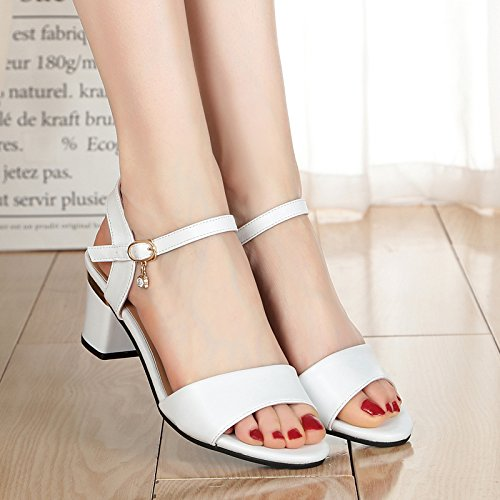 Verano Mujer zapatos de moda sandalias de tira transversal,39 gris White