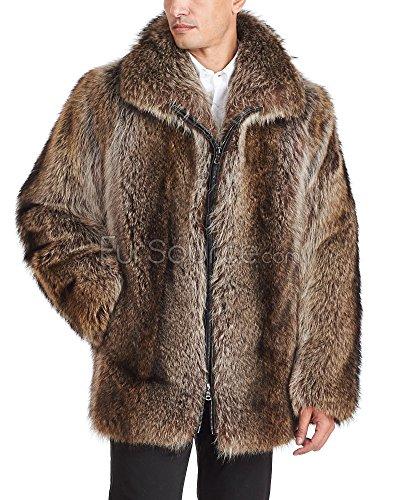 Frr Mid Length Natural Raccoon Fur Coat For Men - Large