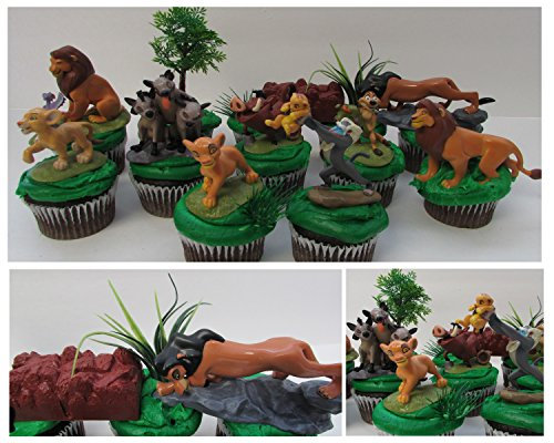 LION KING 11 Piece Birthday CUPCAKE Topper Set Featuring Simba, Nala, Scar, Timon, Zazu, Hyenas, and Mufasa, Themed Decorative Accessories, Figures average 2 to 3 Tall