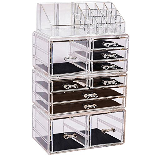 Sooyee Stackable Clear Makeup Organizer, 4 Pieces Acrylic Jewelry and Cosmetic Storage Display Boxes with 10 Drawers 8 Tier by Sooyee