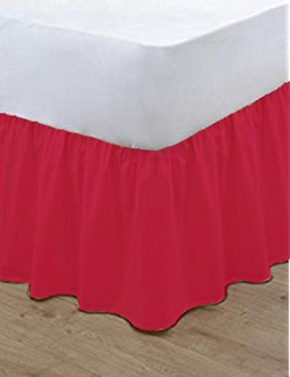 Plain Dyed BASE Valance Sheet Polycotton Percale Easy Care Base Valance Sheet Red Double Only By EXQUIZIT HOME.