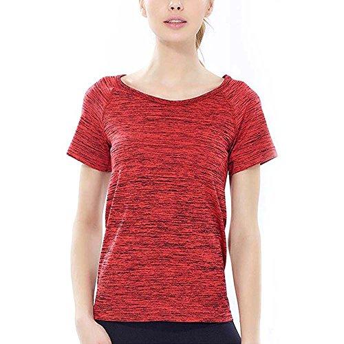 Mujer Summer Soft Skin Quick Drying Camiseta de manga corta Athleisure Sweat Camiseta Absorbant Tee Cintura Slim Fit Crew Neck Thin Sportswear Blusa teñida Tops naranja