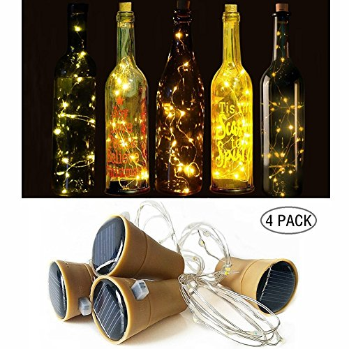 JIAEN LED Solar Copper Wire String Light 15 LED 1.5meters/59in Wine Bottle Copper Lights for DIY, Party, Wedding and Other Decoration (1.5M, Warm White)