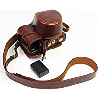 Full Protection Bottom Opening Version Protective PU Leather Camera Case Bag with Tripod Design Compatible For Sony ILCE6000 a6000 with Shoulder Neck Strap Belt Dark Brown