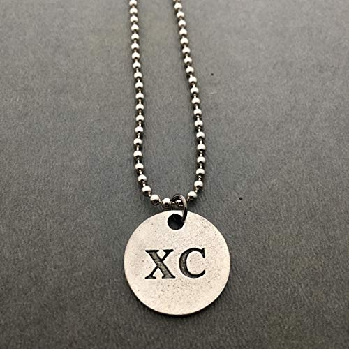 XC Round Pewter Pendant Necklace/Bracelet/Key Chain/Bag Tag - Round Pewter XC Pendant on 24 inch Stainless Steel Ball Chain