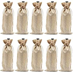Burlap Wine Bags with Drawstrings, Wine Bags Gift - Single Reusable Bottle Bags Perfect for Travel, Wedding, Birthday, Housewarming and Dinner Party - 10 Pack
