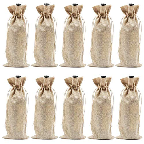 Burlap Wine Bags with Drawstrings, Wine Bags Gift - Single Reusable Bottle Bags Perfect for Travel, Wedding, Birthday, Housewarming and Dinner Party - 10 Pack (Best Tasting Cheap Wine)