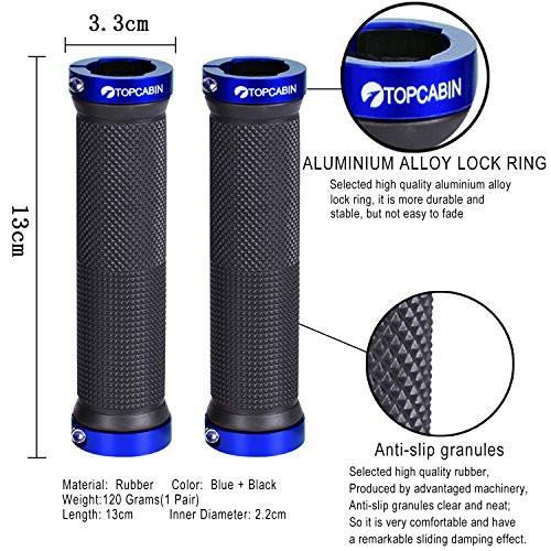Double Lock on Locking Bicycle Handlebar Grips Cycle Bicycle Mountain Bike BMX Floding (a Pair) Blue Gold Red (Blue (a pair))