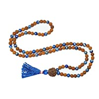 Tibetan Healing Lapiz Lazuli Mala Beads Rudraksha Buddhist Necklace 108