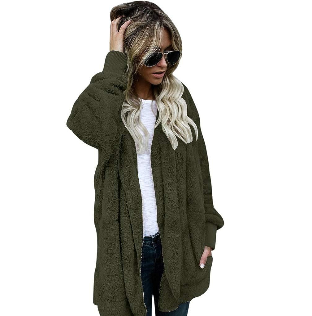 Hiver Manteau Hoodie Up Sherpa Chaud Zip Womens Fausse Gilet Fnkdor Fourrure Casual Veste Outwear 345RjAL