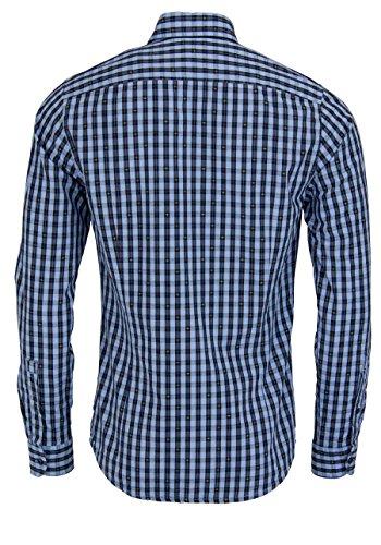 BOSS ORANGE Slim Fit Hemd EPOP Langarm Brusttasche Karo blau