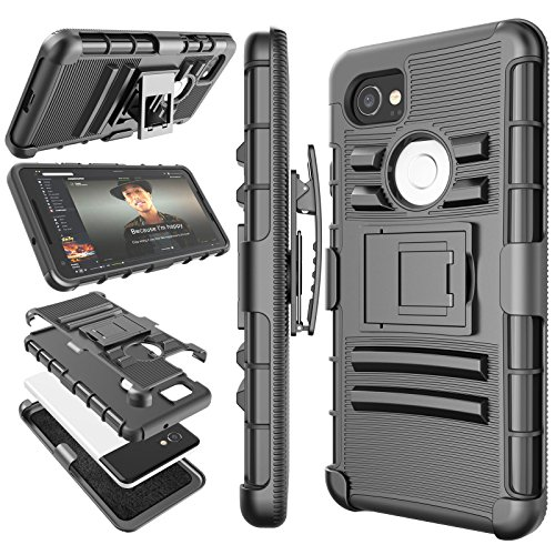 Google Pixel 2 XL Case, 2017 Google Pixel 2 XL Holster Clip, Tekcoo [Hoplite] Shock Absorbing [Black] Swivel Locking Belt Defender Heavy Full Body Kickstand Carrying Tank Armor Cases Cover