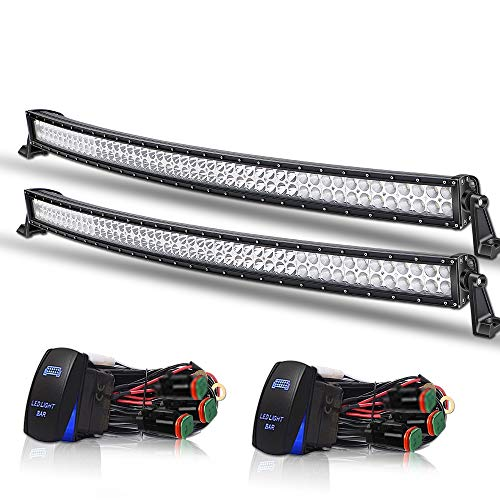 "DOT 54"" Inch 312W Curved Led Light Bar Combo Windshield Roof Light Bar + 2x Rocker Switch for Truck Ford Toyota Tundra Chevy Boat Jeep GMC UTV SUV UTE Trucks ATV Offroad 4X4"