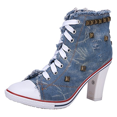 - Women's Rivet Canvas Lace Up Sneakers Chunky Heel Fashion Ankle Boots Blue Label 38 - US 7