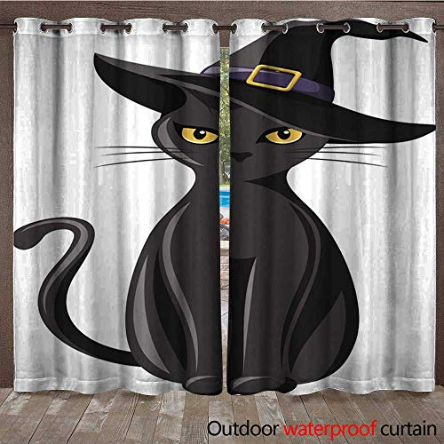 Ultimate Hat Black Witch - Porch Curtains Black cat with Witches hat Vector Illustration Waterproof CurtainW120 x L108