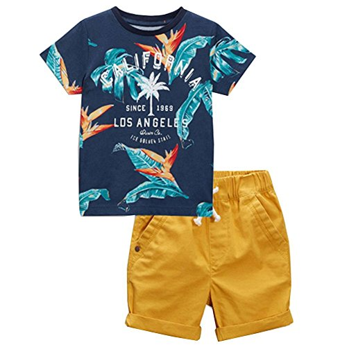 Boys Los Angels The Golden State Tee and Roll-up Shorts Set 7t]()