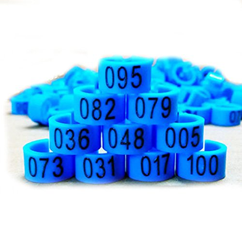 TGOOD New 100 Pcs 8mm 1-100 Numbered Poultry Leg Bands Bird Pigeon Duck Rings Clip ()