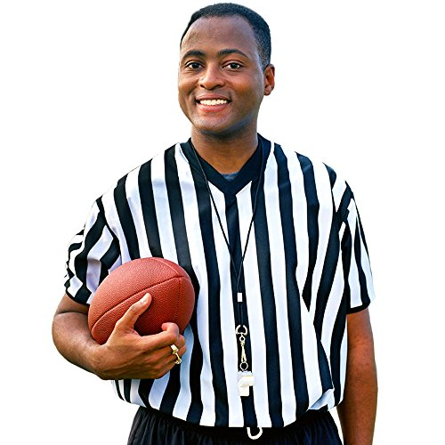 Men's Official Striped Referee/Umpire V-Neck Jersey by Crown Sporting Goods (Medium)