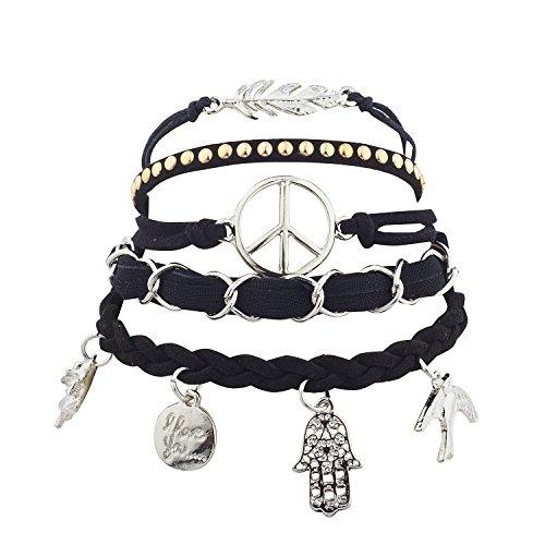 Lux Accessories Silver Tone Boho Black Charm Novelty Arm Candy Bracelet Set 5PC (Peace Sign Suede Bracelet)