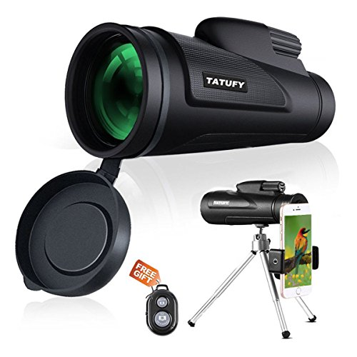 Monocular Telescope, Tatufy 12x50 HD Dual Focus Low Night Vision Waterproof High Power Spotting Scopes for Adults with Cell Phone Photography Adapter for Bird Watching, Hunting, Camping,Travelling by Tatufy