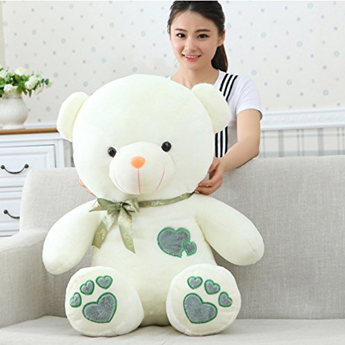 YXCSELL 30 Inches White Cute Soft Plush Stuffed Animals Giant Teddy Bear Toys with Heart Shaped Green Embroidery for Children and Adults