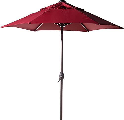 Abba Patio 7-1 2 ft. Round Outdoor Market Patio Umbrella with Push Button Tilt and Crank Lift, Red