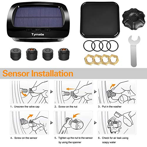 Tymate TPMS Solar Power with HD LCD Screen- Real-time Displays 4 Tires' Pressure, Temperature (-40℃~80℃)- Wireless Tire Pressure Monitoring System with 4pcs External Sensors (0-6.0 BAR)- 6 Alarm Modes by Tymate (Image #5)