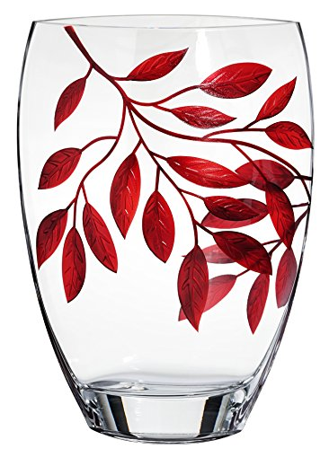 Painted Glass Vase (Large Premium Handmade Glass Vase - Decorated with Sandblasted and Painted Red Leaves - Clear Mouth Blown Lead Free Glass - Luxury Decorative Centerpiece - 11.8 inch (30 cm))