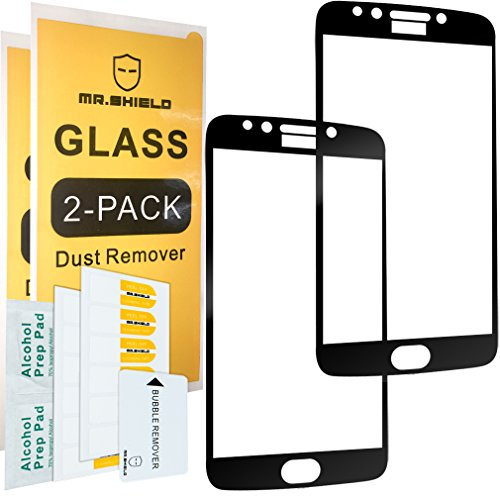[2-Pack]-Mr.Shield for Motorola Moto E4 Plus/Moto E Plus (4th Generation) [Cut Out for Logo] [Japan Tempered Glass] [9H Hardness] [Full Cover] Screen Protector with Lifetime Replacement