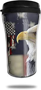 CZJAHBL Bald Eagle and American Flag Travel Coffee Mug Delicate Printing Portable Vacuum Cup,Food Grade Abs Insulated Cup Anti-Spill(8.8 Oz)