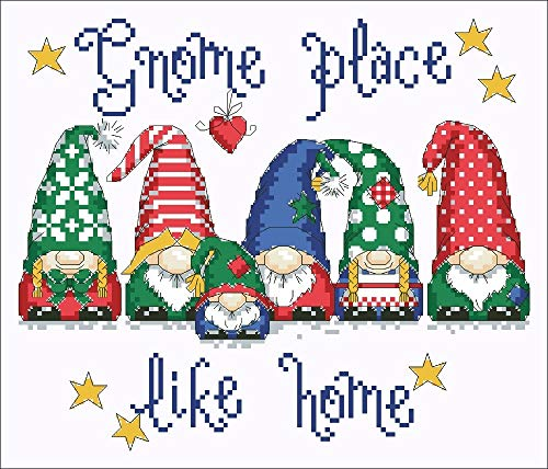 gnome Place Like Home Cross stitchX-mas Package 18ct 14ct 11ct White Cloth Cotton Thread Embroidery DIY Handmade Needlework - (Size: Cotton Thread, Cross Stitch Fabric CT Number: 14ct unprint Canvas)