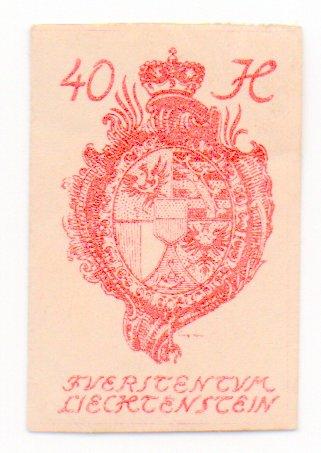 Liechtenstein Postage Stamp Single 1920 Scott #24 Imperf. 40H ()